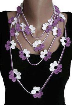 Purple White Crochet Lariat Scarf Necklace Crochet by atinqnka Crochet Necklace Pattern, Knitted Necklace, Crochet Earrings, Scarf Necklace, Strand Necklace, Crochet Gifts, Cute Crochet, Knit Crochet, Crochet Stitches
