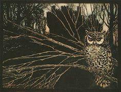barn owl by Arthur Rackham (illustration for Jorinda and Jorindel), via Seven Miles of Steel Thistles