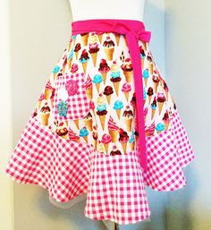 Ice Cream Pink Half Apron by cousinecouture on Etsy