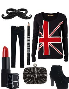 A Union Jack inspired outfit.