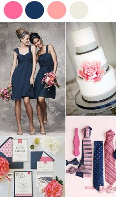 Now Trending: Navy Blue and Pink - to see more: http://www.theperfectpalette.com - color ideas for weddings, parties, and life!