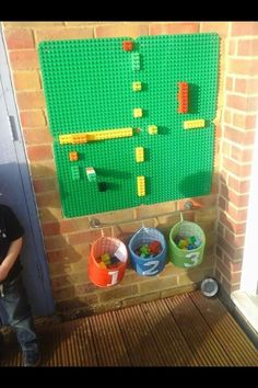 Our duplo wall we use it to count on, create patterns and just build. A great r… – natural playground ideas Outdoor Learning Spaces, Outdoor Play Areas, Eyfs Outdoor Area Ideas, Outdoor Play For Toddlers, Outdoor Classroom, Outdoor School, Reception Classroom Ideas, Room Ideias, Decoration Creche