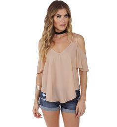 Taupe Cross Out Top