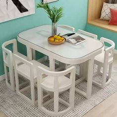 Unique Dining Tables To Make The Space Spectacular - Engineering Discoveries Foldable Dining Table, Space Saving Dining Table, Space Saving Furniture, Home Furniture, Modern Furniture, Furniture Design, Unique Dining Tables, White Dining Table, Dining Table Design