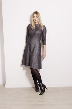 Silver dress with inset band by Joyani. Silver Dress, Every Woman, Feminine, Dresses With Sleeves, Band, Long Sleeve, Sweaters, Women, Fashion