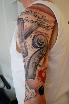 145 Rockin' Music Tattoos That Will have You Singing - Beste Tattoo Ideen Music Tattoo Designs, Music Tattoos, Tattoo Sleeve Designs, Tattoo Designs Men, Body Art Tattoos, Hand Tattoos, Girl Tattoos, Sheet Music Tattoo, Faith Tattoos