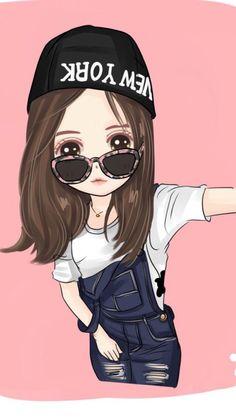 *✿**✿**✿**✿*✿** Cute Couple Cartoon, Girl Cartoon, Cartoon Art, Cute Girl Drawing, Cute Drawings, Anime Chibi, Kawaii Anime, Cute Girl Wallpaper, Chibi Girl