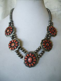 Exceptional Vintage Navajo SQUASH BLOSSOM NECKLACE Stamped Sterling Silver Beads and Spiny Oyster Shell.  TurquoiseKachina, $863.10