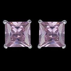 Silver earrings, CZ, square Silver earrings, Ag 925/1000 - sterling silver. With stones (CZ - cubic zirconia). Squares. Glittering earrings in a square shape with diamont cut, a-l?? Beckham. Stone dimensions approx. 6x6 mm. Price per pair.