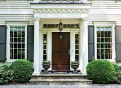 Elegant Traditional Front Door at a Private Country Estate in Greenwich, Connecticut