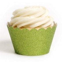 Lime Green Platinum Glitter Cupcake Wrappers
