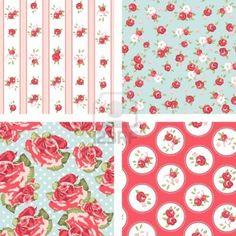 Shabby Chic set, 4 Vintage rose patterns. Seamless vector. Rose wallpaper  Stock Photo