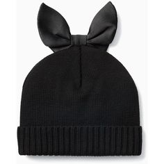 Kate Spade Bunny Ear Beanie (155 TND) ❤ liked on Polyvore featuring accessories, hats, leather beanie, kate spade hat, leather hat, beanie hat and beanie cap hat