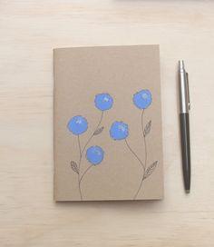 A6 blank notebook blue flower by EOKleather on Etsy