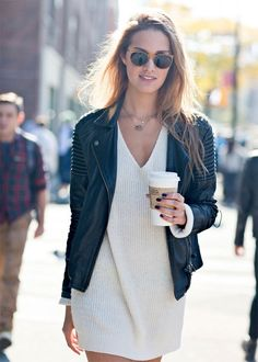 Sweater dress + leather