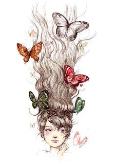 Zara Trafaluc ~ Spring 2009 #art #girl #butterflies #hair #drawing #illustration