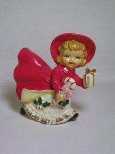 Vintage figurine de Shopper fille porcelaine Noël avec ère Candy Cane rouge robe dur à trouver Napco Lefton Holt Howard Mid Century ornement
