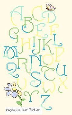 Swirly, dual colour cross stitch letters