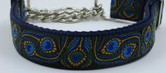 1 Peacock adjustable dog collar ribbon on by WagSwagPetSupplies