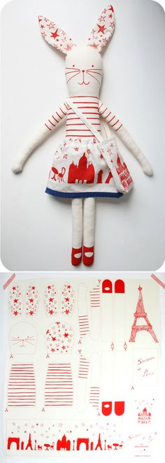 DIY Bunny Doll  http://www.etsy.com/shop/mikodesign chic french style plushie bunny rabbit pattern