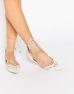 ALDO | ALDO Harmony Nude Laser Cut Ghillie Lace Up Flat Shoes at ASOS