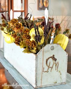 Vintage Tool Box Turned Fall Centerpiece