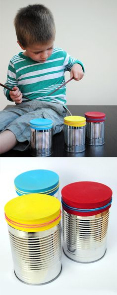 Ballon, rubber band, over tin can. Diy For Kids, Cool Kids, Crafts For Kids, Child Care Resources, Instrument Craft, Plastic Bottle Art, Mexican Crafts, Tin Can Crafts, Educational Crafts