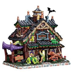 Lemax Creepy Crawlies Pet Sitting. SKU# 75184. Released in 2017 as a Lighted Building for the Lemax Spooky Town Village Collection.