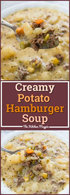 Creamy Potato and Hamburger soup! This hamburger soup is the perfect way to warm… Creamy Potato and Hamburger soup! This hamburger soup is the perfect way to warm up this winter! You can make it in the crockpot or stove top! From Karlynn Slow Cooker Huhn, Slow Cooker Soup, Slow Cooker Recipes, Easy Homemade Recipes, Easy Soup Recipes, Healthy Recipes, Potato Recipes, Potatoe Soup Recipe Easy, Soup Crockpot Recipes