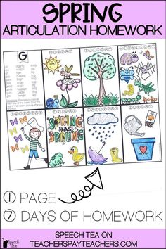 These spring articulation homework sheets are fun for your students and cover multiple sounds in all positions. Speech therapy homework doesn't need to be boring! Have fun with this spring articulation activity! Click for more info.