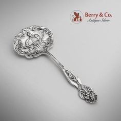 American sterling silver candy or nut spoon in an Acanthus style pattern by George W. Shiebler. c.1890.