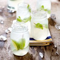 Moscow Mule. This version uses ginger beer, lime juice, vodka, and mint leaves.