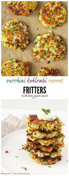 Kohlrabi Carrot Fritters with Herb Yogurt Sauce Use up all your CSA veggies with easy-to-make fritters. These zucchini kohlrabi carrot fritters with herb yogurt sauce make for a quick and delicious weeknight dinner. Kohlrabi Recipes, Vegetable Recipes, Vegetarian Recipes, Cooking Recipes, Healthy Recipes, Snacks Recipes, Easy Recipes, Appetizer Recipes, Dinner Recipes