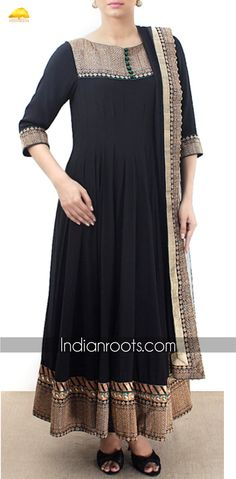 Black georgette anarkali suit featuring zari embroidery across the yoke, borders and sleeve ends by Sayantan-sarkar on Indianroots.com