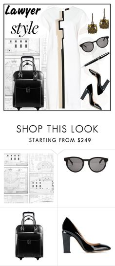 """Lawyer Style"" by ladygroovenyc ❤ liked on Polyvore featuring Sandberg Furniture, Linda Farrow, McKleinUSA, Valentino and Montblanc"