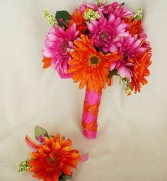 Bridal Bouquet Orange Fuschia HotPink Gerbera Daisies