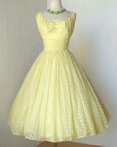 1950s lemon eyelet chiffon dress.