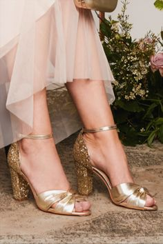 Block heel Candyfloss Gold Glitter Wedding Shoes, Wedding Shoes Heels, Bridal Shoes, Gold Leather, Leather Heels, Gold Block Heels, Rachel Simpson, Candyfloss, Designer Wedding Shoes