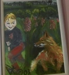 """A painting from the book """"In Case There's a Fox""""."""