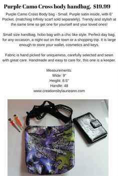 Purple Camo Cross body Handbag. www.creationsbylaurieann.com