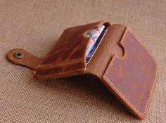 Handstitched Leather Wallet, Men Minimalized wallet, Card Case