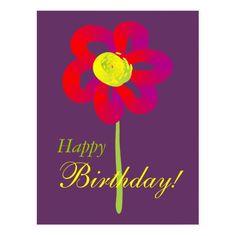 Happy Birthday, summer flower design Postcard