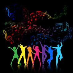 Buy Party People by kjpargeter on GraphicRiver. Colourful silhouettes of people dancing on a music notes background. Dance Background, Party Background, Background Pictures, Wallpaper Pictures, Just Dance, Music Artwork, Art Music, Music Party Decorations, Dance Wallpaper
