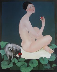 "Karina Rungenfelde; Oil, Painting ""Virgin and dog"""