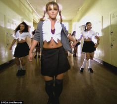 Britney Spears in her 1998 Baby One More Time video.