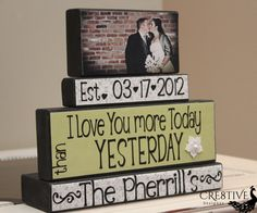 Personalized Wedding/Anniversary Wood Blocks by Cre8tiveDesignzz