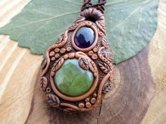Apatite polymer clay macrame necklace Amethyst by SelinofosArt