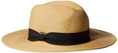 NYfashion101 Lightweight Solid Color Band Braided Panama Fedora Sun Hat White/Black at Amazon Women's Clothing store: