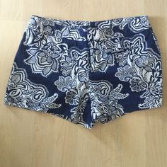 Gap print shorts navy blue paisley/flower printed shorts. Hardly worn great condition! J. Crew Shorts
