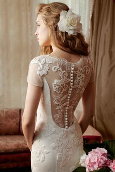 wedding dress with open lace back